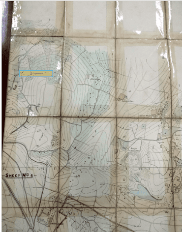 corner section of a Survey of India map of Bangalore dated 1884, Source: Survey of India map, 1884. Colour overlay done by Meghana Kuppa indicating the area nearest to Bangalore surveyed by the engineers at that time 'Gangenahalli'
