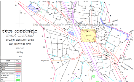 "A district map of Bangalore in 1905. Source: landrecords.karnataka.in (published by Revenue Survey Office). Colour overlay done by Meghana Kuppa indicating the Yashwanthpur ""ooru""."