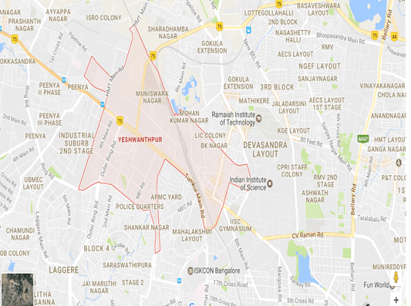 Current Map of Yeshwanthpur area. Source: Google Maps 2017