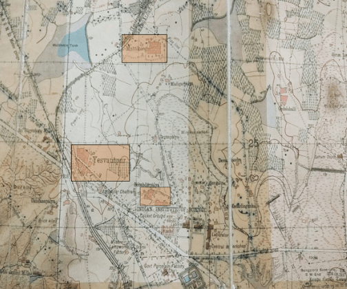 Section of a map surveyed in 1935-36 and published in 1948, Source: Bangalore Guide Map 1948. Colour overlay by Meghana Kuppa indicating 'Yesvantpur', 'Subedarpalya' and 'Mattikere'.
