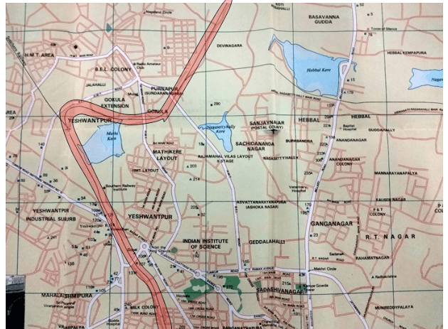 Section of map of Bangalore in 1995, focusing on North-West Bangalore, Source: tourist guide book of Bangalore, 1995. Colour overlay by Meghana Kuppa.