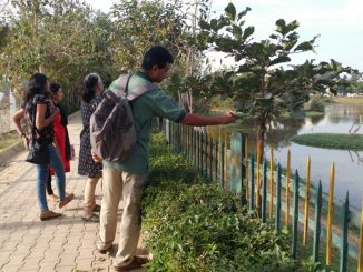 T.S.Srinivasa inspecting a specimen at the lake-701371