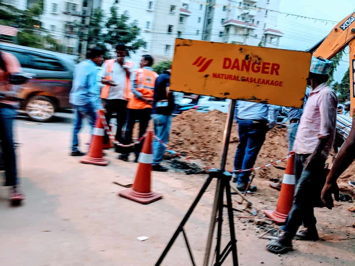 Image result for latest images of Gas pipeline leak reported on Bengaluru's Sarjapur road during BBMP excavation work
