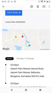 A 2km drive takes more than an hour. A screenshot of a recent Uber trip by a resident.