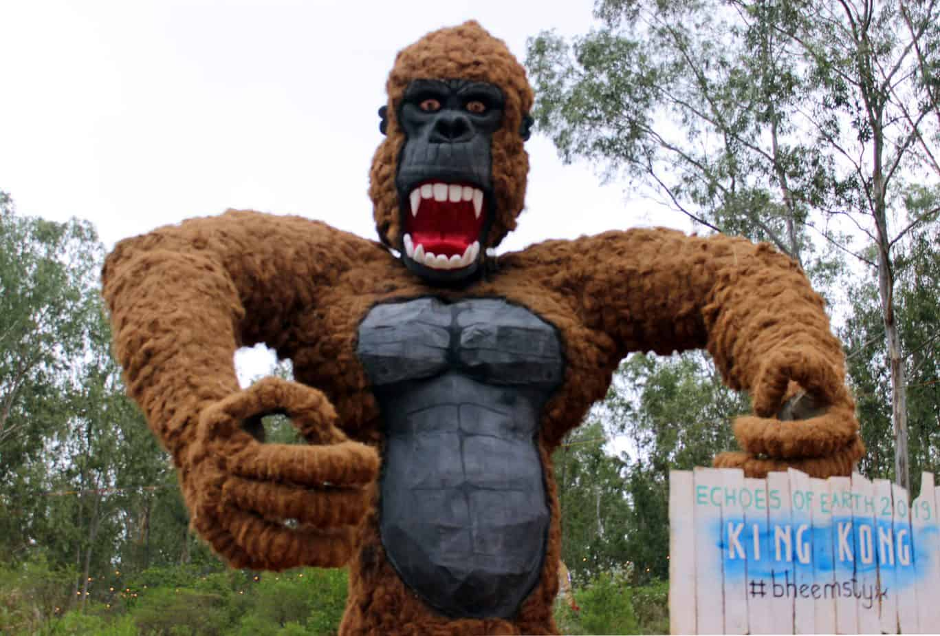 Gorilla made with recycled metal armature, gunny bags, and coir by designer Bheemaiah K.K. Pic: Srijan Sen