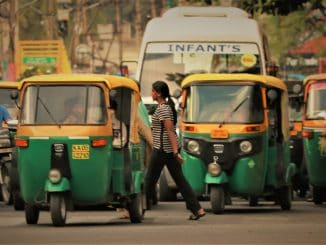 Vehicles often crowd pedestrian crossings, endangering pedestrians. Pic: The Footpath Initiative