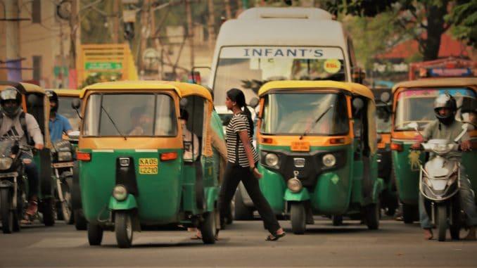 Vehicles often crowd pedestrian crossings, endangering pedestrians. Pic: The Footpath Initiative