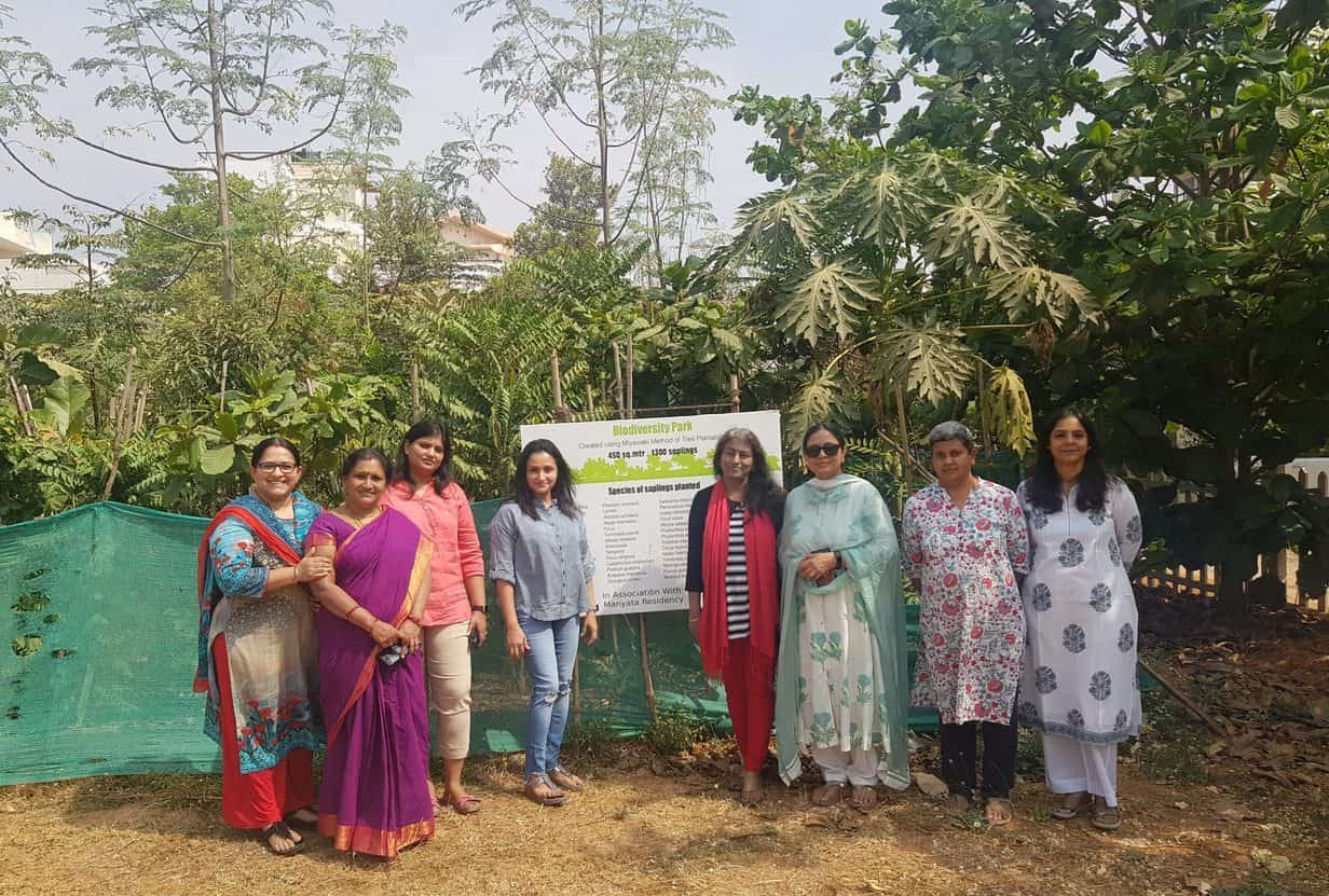 Few members of MR VrikshaMitra group and volunteers from Say Trees who took the initiative to develop the parks into Miyawaki forests gathered at park no. 19 after 8 months. Pic: Manyata Residency VrikshaMitra Group