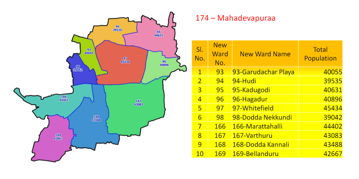 The revised map of Ward 174 - Mahadevapura. Pic credit: Abstract of Wards in each Legislative Assembly Segments within BBMP (2019)