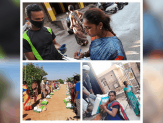 Volunteers delivering relief kits to the needy. Pic: Hasiru Dala/Facebook